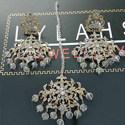 Indian fashion jewellery - Gold plated earring tikka design BOLLYWOOD jewellery