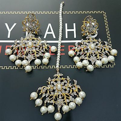 Indian fashion jewellery - Gold plated earring tikka  BOLLYWOOD PEARL jewellery