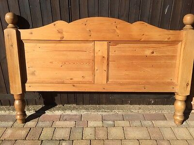 Antique pine bed headboard, double bed, kingsize bed, solid wood, shabby chic.
