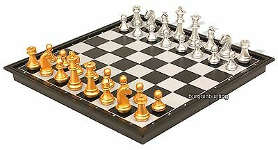 NEW Magnetic Gold Silver Folding Chess Board Game Set/High quality Chess size 32