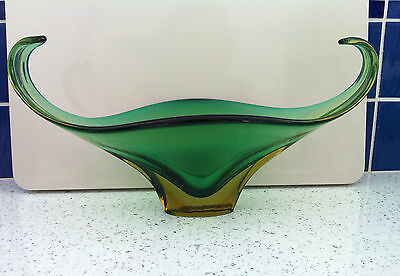 Vintage Large Murano Sommerso Free Form Blown Glass Art Bowl