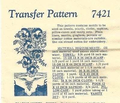 Vintage Pansies Pansy Embroidery Transfers #7421