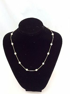 Pearls Necklaces Spaced Simulated Beads With Gold Tone Chain
