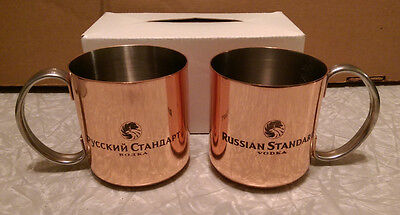 Russian Standard Vodka Set of 2 Copper Moscow Mule Mugs NEW Russian and English