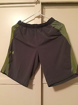 UNDER ARMOUR, Youth Polyester Shorts, Grey, Size L
