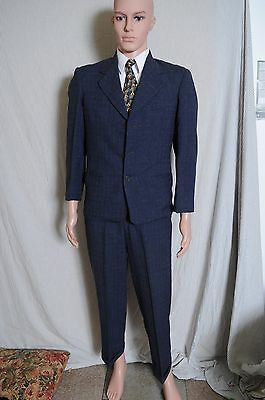 VTG '30s Men's Sewell Clothes three button dark blue fleck suit 37 29X28