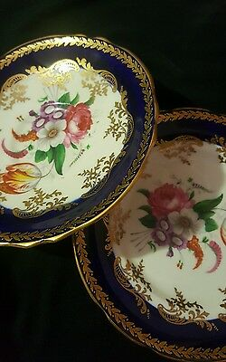 Paragon china H.M The Queen & HM Queen  Mary saucer and teacup plate floral blue