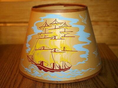 Vintage Small Lithographed Nautical Themed Clip Lampshade