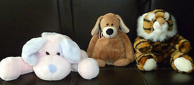 Lot 3 Animal Alley Plush Puppet Tiger / Pink Dog / Brown Dog  Collectible