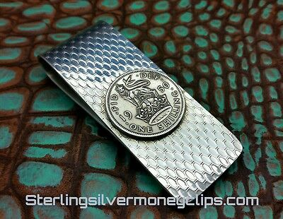 38g Thick 1950 BRITISH SHILLING Argentium 925 935 Sterling Silver Money Clip USA