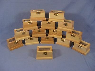 Lot of 15 Unfinished Wood Small Craft Trinket Storage Cricket Box Screen Lid