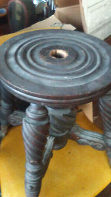 Antique Victorian Piano Stool Wood Metal Glass Ball Claw Feet