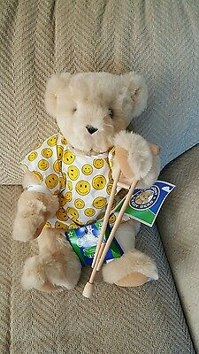 Vermont Get Well Soon Teddy Bear crutch caramels smiley face hang tags NR