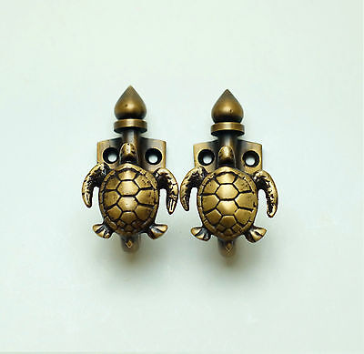 Set of 2 pcs Vintage Turtle Solid Solid Brass Hat Coat Wall Mount HOOK Hanger