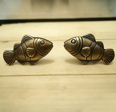 Set of  2 pair / 4 pcs Vintage CROWN FISH Cabinet Door BRASS Drawer Pull Knobs
