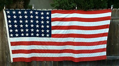 Vintage Valley Forge Flag 48 Star US American Flag 5' x 9-1/2' sewn Aged
