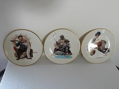 3 New 1978 Gorham Norman Rockwell Danbury Mint Limited Edition Collector Plates+