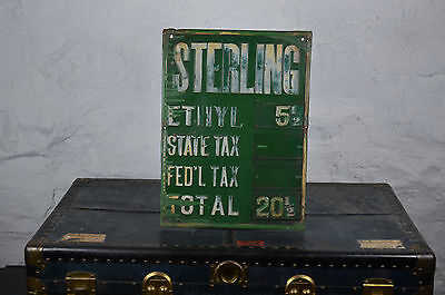 early STERLING quaker state price sign embossed metal pricer box non porcelain