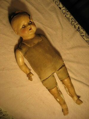 "Antique Composition Doll Halloween Scary Great Prop ""look"""