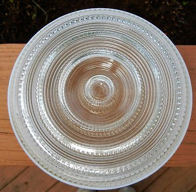 """.VINTAGE 6 1/2"""" ART DECO CLEAR GLASS w/WHITE KITCHEN CEILING LIGHT SHADE"""