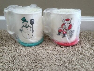 Tupperware Santa Snowman Mugs Set Of 2 New
