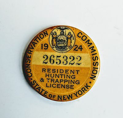 1924 Badge/pin - Hunting & Trapping License -  Resident Ny State