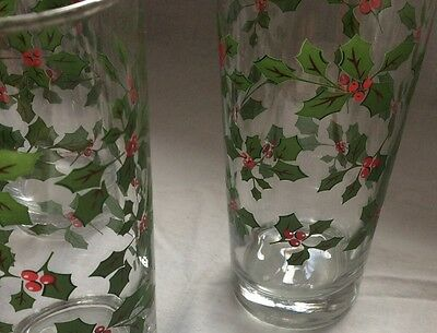 Vtg Set 4 Holly Berry Cocktail Holiday Tumbler Drinking Glasses Swanky Hi-Ball