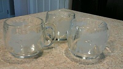 Set of 3 Vintage 1970's NESTLE Nescafe Glass World Globe Map Coffee Cups Mugs