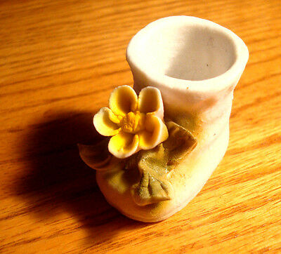 Antique Porcelain Baby Bootie Hand Painted from Mexico