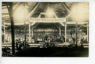 """""""Get Right Stay Right GOD"""" RPPC Religious Revival Tent Interior—Marion OH Photo"""