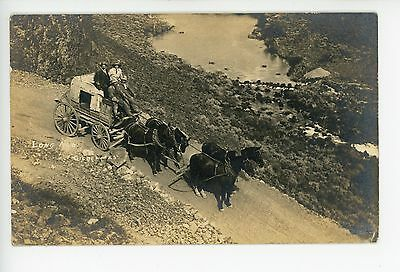 """""""Long Ago"""" RFD Mail Delivery Stagecoach RPPC—Bisbee—Idaho?—Frontier Photo 1910s"""
