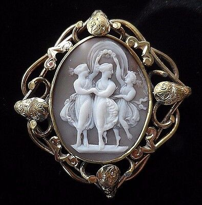 Gorgeous Antique Shell Cameo Brooch of the Three Graces in Ornate Frame