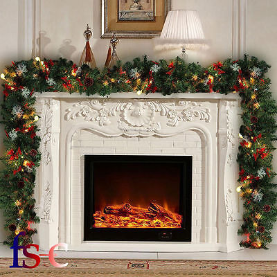 2.7m Luxury Christmas Garland With Light Up LED Pre Lit & Pine Cones Ornament