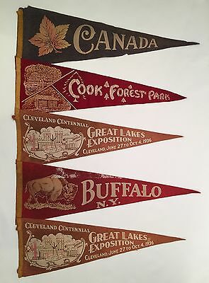 (5) Lot Antique Felt Pennants ~ Buffalo, Canada, Great Lakes Expo, etc. (DS01)