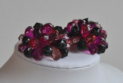 XXL VINTAGE Domed Cluster Plastic Statement Clip Earrings Shades Purple & Black