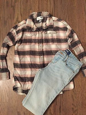 Old Navy Girls Outfit - Flannel Shirt & Super Skinny Jeans Pants - Size 8 7
