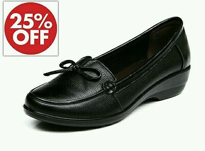 AU SZ 6 Women's Black Leather Upper Comfort Slip-on Nursing Casual Boat Shoes