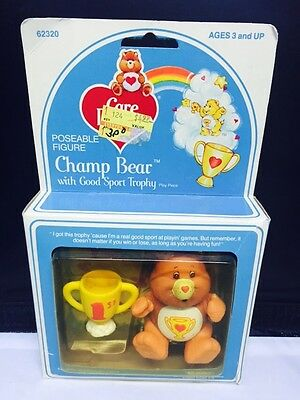 Vintage Care Bear Poseable Champ Bear with Good Sport Trophy Figure MIB Kenner
