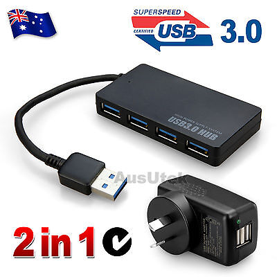 2in1 USB 3.0 4 Ports HUB 5Gbps External & AU AC Power Adapter For Laptop PC Mac