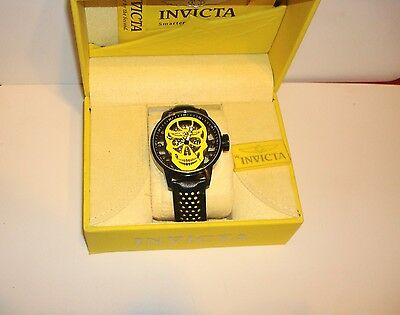 invicta S1Rally Skull Mechanical Watch Skeletonized Dial Leather Strap 19714