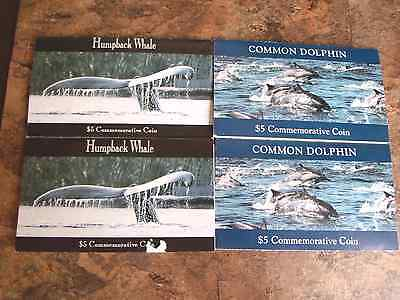 4 - Marshall Islands Commemorative $5 Coins 1993 HUMPBACK WHALE & COMMON DOLPHIN
