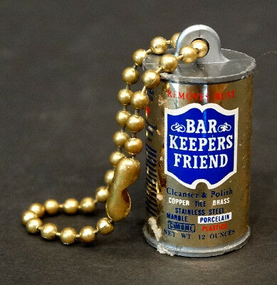 Vintage 1970's BAR KEEPERS FRIEND Miniature KEYCHAIN CHARM TOY Watch Fob