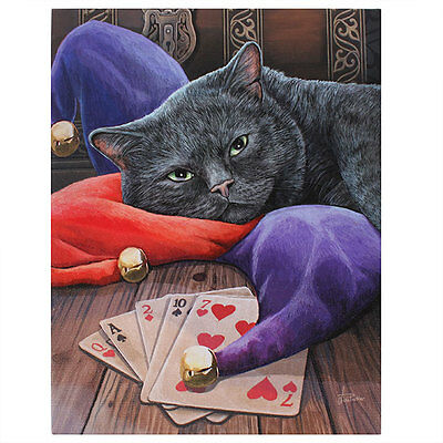 Lisa Parker  New Gothic Wicca Black Cat The Jester 19cm x 25cm Canvas Print