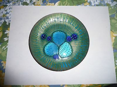 ANNEMARIE DAVIDSON 6 inch Abstract Jewels Plate / Dish Blue Green and Gold