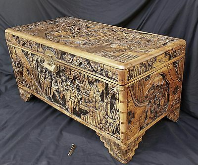 VERY RARE Antique Carved Camphor Teak Burl Wood Chinese Chest by Majestic Marked