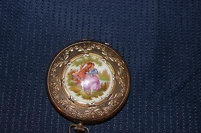 Vintage Round compact mirror made in France porcelain makeup case
