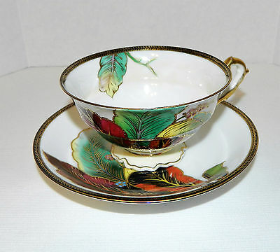 Vintage Chubu Occupied Japan China Hand Painted Leaf Cup & Saucer Gold Trim