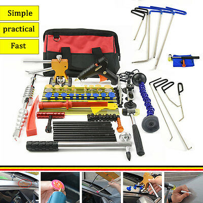 9PCS LED Line Board Auto Body Rod Tools Paintless Dent Repair Removal PDR Hammer