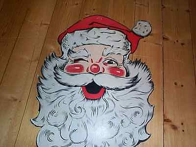 Vintage DieCut CHRISTMAS SANTA FACE Store Display Decoration old Hardware Store