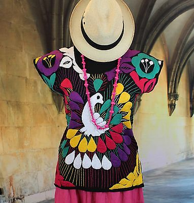 Multi Color Hand Embroidered Huipil / Blouse Peacock Jalapa Mexico, Hippie, Boho